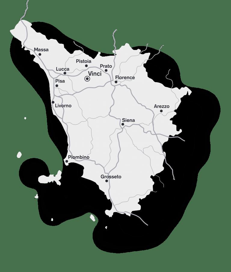 mapa toskánska oblasť vinci